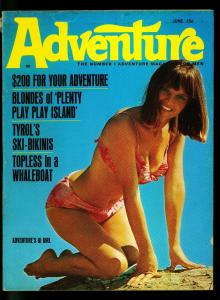 Adventure Pulp Magazine June 1968- Pin up cover- Cheesecake- VG/F