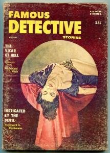 Famous Detective Stories Pulp August 1956- Vicar of Hell- G/VG