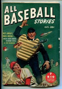 ALL BASEBALL STORIES-#1-OCT 1947-PULP ACTION-SOUTHERN STATES PEDIGREE-vf