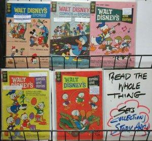 Walt Disney's Comics and Stories (Gold Key 1964-8) #280, 288, 313, 335, 367 Lot