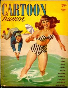 Cartoon Humor-Summer 1947-Earl bergey-swim suit cover-Machamer-Bill Wenzel-VG
