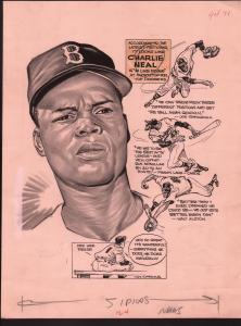 Lou Darvas Original Sporting News Art-1950's-Charlie Neal-Brooklyn-Dodgers-VG