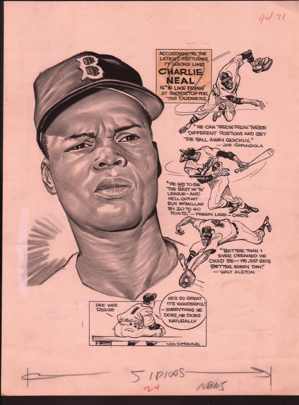 Lou Darvas Original Sporting News Art-1950's-Charlie Neal-Brooklyn-Dodgers-VG