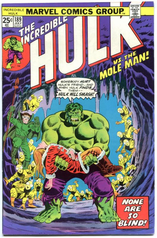 HULK #189, VF+, Mole Man, Trimpe, Marvel, 1968, Incredible, more in store