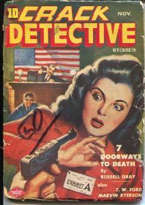 Crack Detective 11/1943-Columbia Pubs-German Luger-American flag-WWII era pulp-G