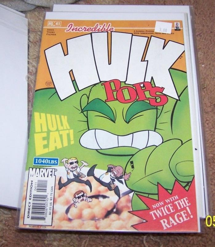 Incredible Hulk  # 41 2002, Marvel)  hulk pops...now with twice the rage  cerial