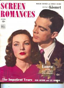 Screen Romances-Gene Tierney-Dana Andrews-Ronald Colman-Jean Arthur-Oct-1944