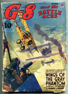 G-8 and His Battle Aces Pulp October 1942- Wings of the Gray Phantom VG
