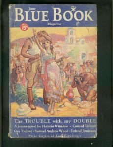 BLUE BOOK PULP-6/1934-GUY ENDORE HORROR ISSUE-DARKTOWN  G-