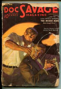 DOC SAVAGE 08/1936-STREET & SMITH-THE MIDAS MAN-PULP THRILLS-fr/good