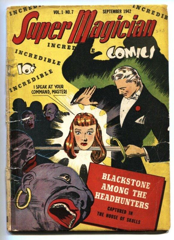 SUPER MAGICIAN v.1 #7 1942-Severed head cvr-natives-STREET & SMITH-BLACKSTONE
