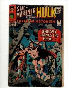 Tales To Astonish # 76 VG Marvel Comic Book Giant Man & Incredible Hulk BJ1