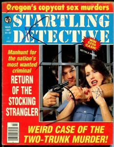 Startling Detective 3/1987-Globe-Stocking Strangler-lurid-violent-spicy cover-G