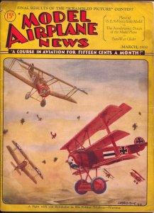 Model Airplane News-3/1932-pulp air war style cover-Gerald Muir-pix info-VG