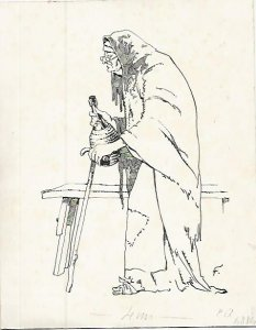 DIBUJO 3654: ANCIANA. Boceto en tinta negra.