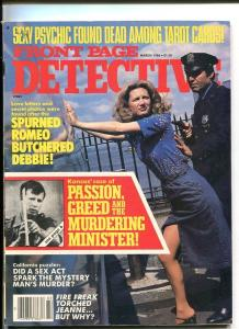 FRONT PAGE DETECTIVE-MARCH/1986-MURDERING MINISTER-FIRE FREAK-SEXY PSYCHIC VG