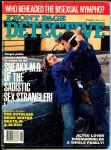 Front Page Detective 2/1985-Globe-spicy Babe-knife-disembowelment-nympho-VG