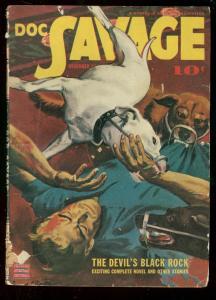 DOC SAVAGE DEC 1942-DEVILS BLACK ROCK-BRUTAL DOG ATTACK G/VG