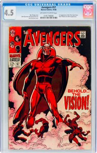 Avengers #57 CGC Graded 4.5 1st appearance of the Silver Age Vision. Black Wi...