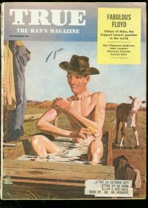TRUE MAGAZINE SEPT 1954-FAWCETT-BATHING COWBOY COVER VG