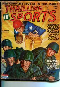 Thrilling Sports 1/1945-Patriotic battle/football cover-WWII era-boxing-golf-G+