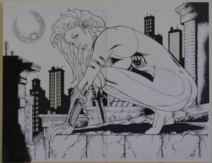 Original art, WITCHBLADE / GOOD GIRL double pg Splash, 22x17, more art in store