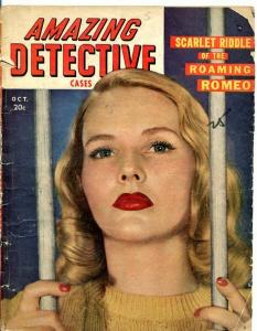 AMAZINE DETECTIVE CASES-OCT/1948-WARY WIDOWS-PAWNS OF JEALOUSY-SLAYER'S SO FR/G