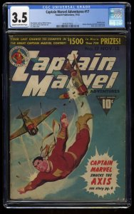 Captain Marvel Adventures #17 CGC VG- 3.5 Classic WWII War Cover!