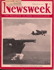 Newsweek 12/28/1944-Aircraft carrier cover-WWII-military ads-VG