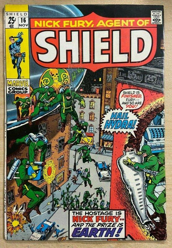 NICK FURY, AGENT OF SHIELD #16 (Marvel,11/1970) VERY GOOD PLUS (VG+)  Kirby!