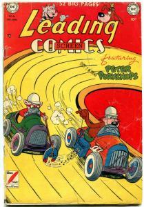 Leading Comics #46 1950- Peter Porkchops- Golden Age DC- auto race cover G/VG