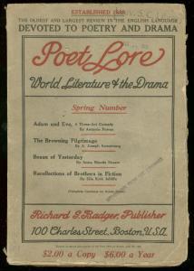 POET LORE SPRING 1930-LITERATURE PULP-RARE VG