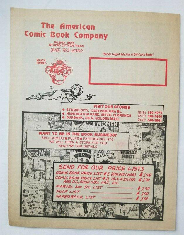 American Comic Book Company Pulps #3 Price List '70s Catalog VF High Grade
