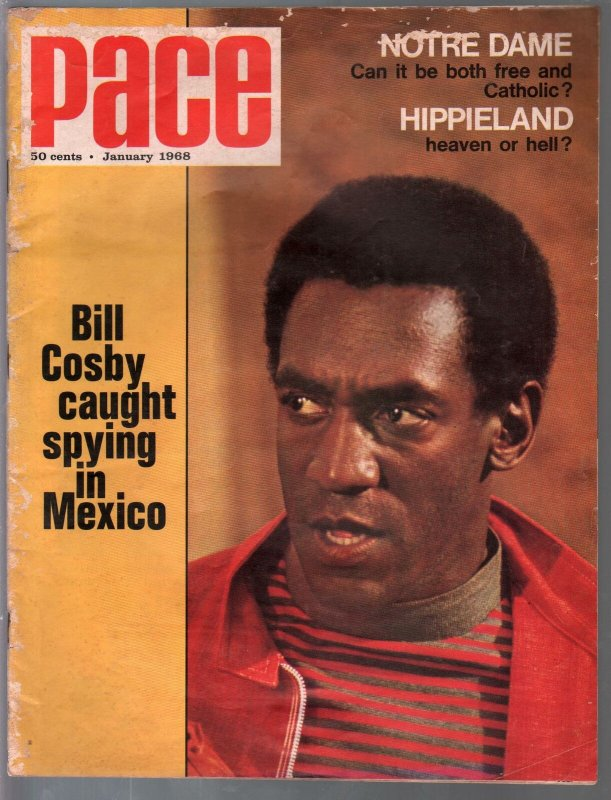 Pace 1/1968-Bill Cosby-Hippieland-Notre Dame-muscle cars-Coke ad-FN