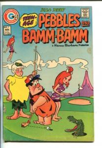 TEEN AGE PEBBLES AND BAMM-BAMM- #17-1973-CHARLTON-UNUSUAL GOLF COVER-vg/fn