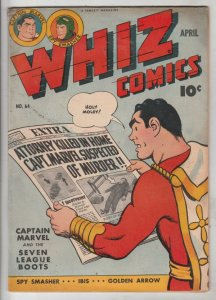 Whiz Comics #64 (Apr-45) VG/FN+ Mid-Grade Captain Marvel, Billy Batson