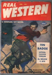 Real Western 2/1945-A. Leslie Ross cover art-Nelson Nye-VF