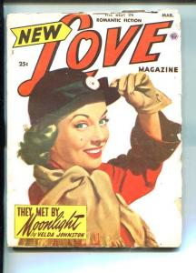 NEW LOVE-MAR 1952-ROMANTIC PULP FICTION- PIN-UP GIRL COVER-JOHNSTON-WOODS-vg