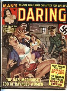 Man's Daring Magazine Sept 1962-INSANE NAZI MONKEY ATTACK COVER!
