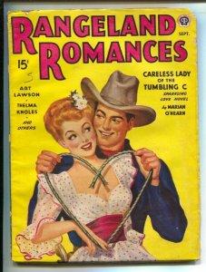 Rangeland Romances 9/1944-Popular-Classic GGA cover with heart shaped lariat-...