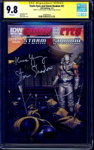 Snake Eyes Storm Shadow #21 CGC SS 9.8 signed by Keone Young VOICE ACTOR GIJOE