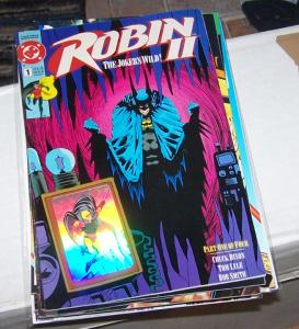 Robin II #1 (Dec 1991, DC) jokers wil\d  robin hologram card on cover