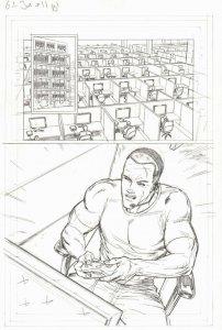 G.I. Joe #11 pg 1 ROADBLOCK GAMING Pencil Art PAGE Steve Kurth