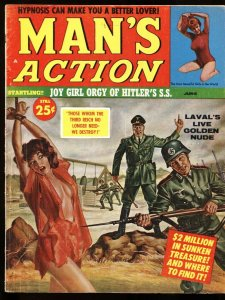 Man's Action 6/1961 NAZI bayonets SPICY BABE on cover-WILD! Pulp