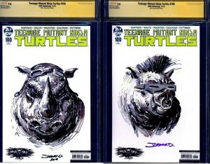 TMNT #100 VARIANT LOT OF 2 CGC SS 9.8 signed BEBOP & ROCKSTEADY SKETCH JohnnyD