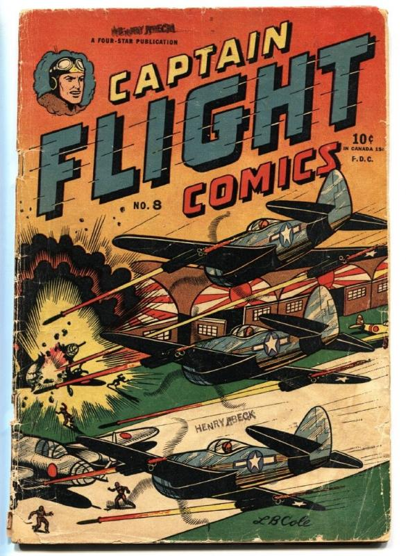 CAPTAIN FLIGHT #8 1948-FOUR STAR-First appearance of YANKEE GIRL!