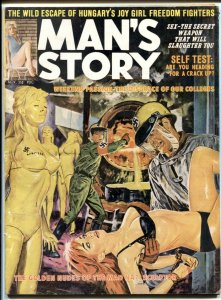 Man's Story November 1963- infamous Nazi molten gold torture cover