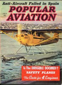 Popular Aviation 7/1939-seaplane photo cover-WWII info-warplanes-VG