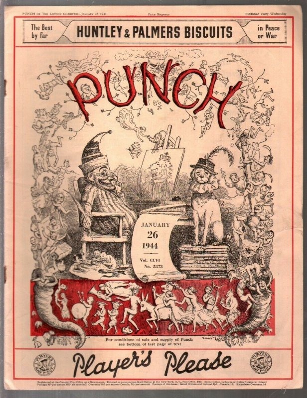 Punch 1/26/1944-cartoons-pulp fiction-info-UK published-VG/FN