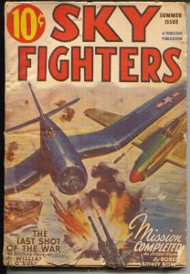 Sky Fighters-Summer 1946-Thrilling-WWII Battle cover-Robert J Hogan story-VG